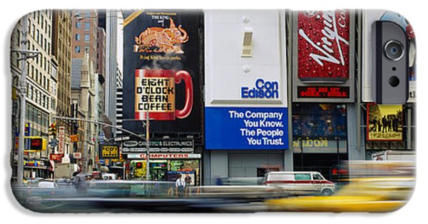 Board iPhone Cases - Traffic On A Street, Times Square iPhone Case by Panoramic Images