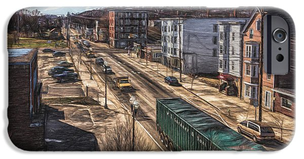 Collectible Mixed Media iPhone Cases - Traffic on Lincoln Street iPhone Case by Bob Orsillo