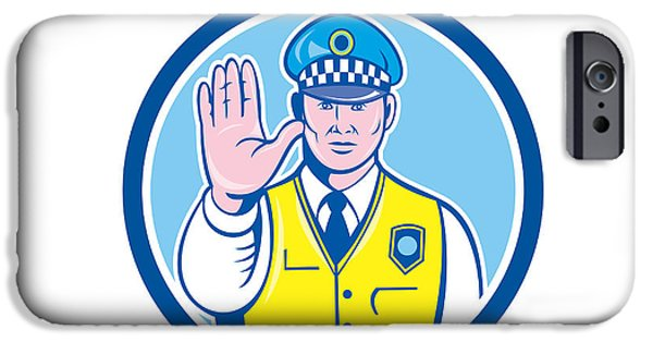Police Officer iPhone Cases - Traffic Policeman Hand Stop Sign Circle Cartoon iPhone Case by Aloysius Patrimonio