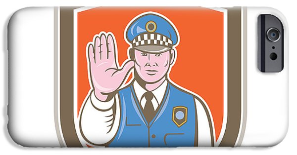 Police Officer iPhone Cases - Traffic Policeman Hand Stop Sign Shield Cartoon iPhone Case by Aloysius Patrimonio