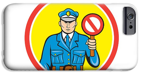 Police Officer iPhone Cases - Traffic Policeman Stop Hand Signal Cartoon iPhone Case by Aloysius Patrimonio
