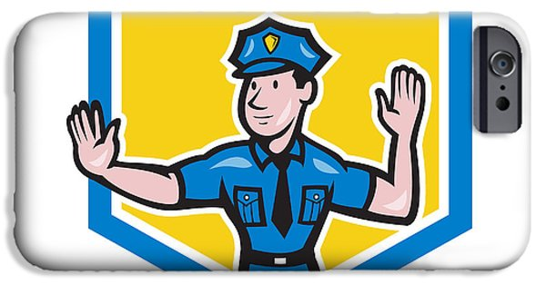 Police Officer iPhone Cases - Traffic Policeman Stop Hand Signal Shield Cartoon iPhone Case by Aloysius Patrimonio