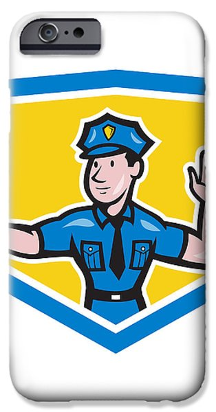 Traffic Policeman Stop Hand Signal Shield Cartoon iPhone Case by Aloysius Patrimonio