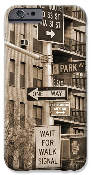 Traffic Sign iPhone Cases - Traffic signs in Manhattan vintage look iPhone Case by RicardMN Photography