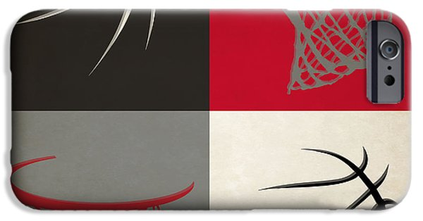 Dunk iPhone Cases - Trail Blazers Ball And Hoop iPhone Case by Joe Hamilton