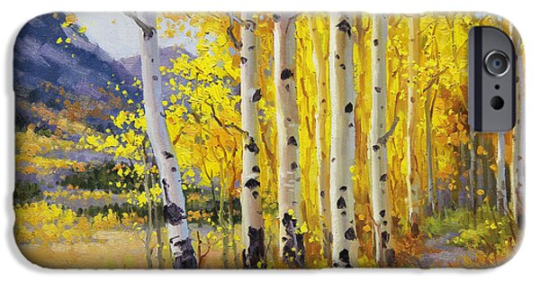 Tree Art Print iPhone Cases - Trail through Golden Aspen  iPhone Case by Gary Kim