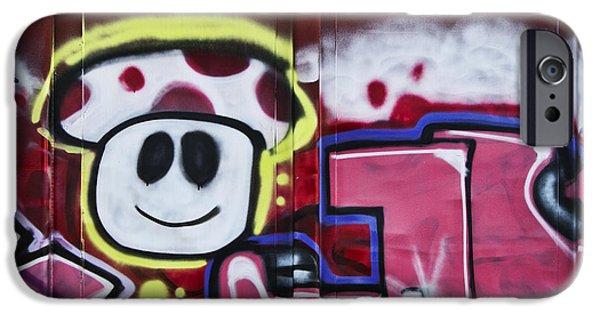 Spray Paint iPhone Cases - Train Art Cartoon Face iPhone Case by Carol Leigh