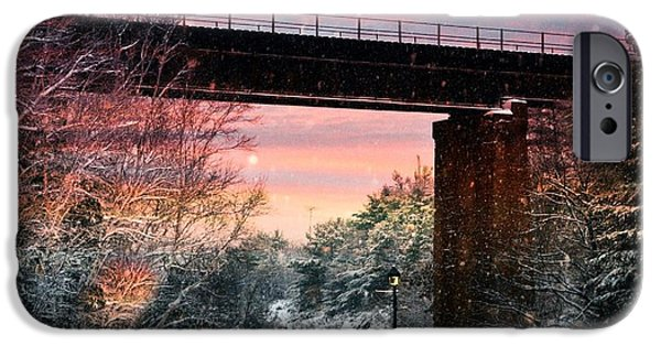 Night Lamp Mixed Media iPhone Cases - Train Bridge iPhone Case by Michael Dion Taylor