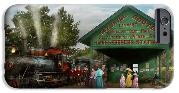 Little Girl iPhone Cases - Train - Catskill NY - Waiting for departure 1902 iPhone Case by Mike Savad