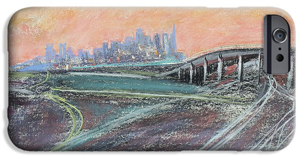 Industrial Pastels iPhone Cases - Train Coming at Sunset in West Oakland iPhone Case by Asha Carolyn Young