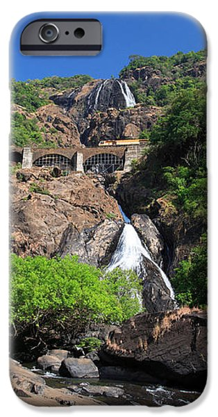 Train crossing Dudhsagar Falls iPhone Case by Deborah Benbrook