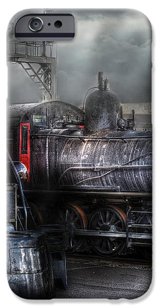 Train - Engine - 1218 - Waiting for Departure iPhone Case by Mike Savad