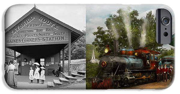 Little Girl iPhone Cases - Train - Haines Corners - Catskill Mountains - NY - Waiting for departure - 1901 - Side by side iPhone Case by Mike Savad