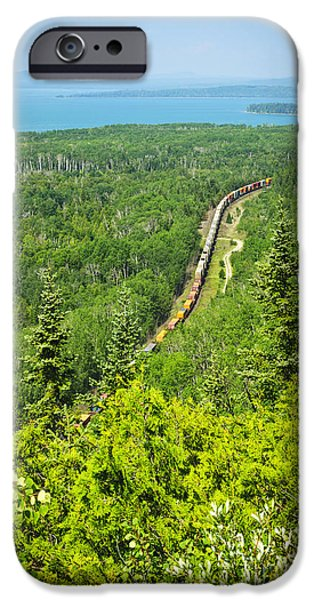 Going Green iPhone Cases - Train in northern Ontario iPhone Case by Elena Elisseeva