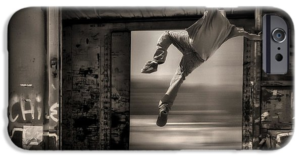 Strange iPhone Cases - Train Jumping iPhone Case by Bob Orsillo
