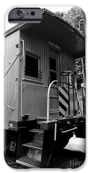 Railway Locomotive iPhone Cases - Train - The Caboose - Black and White iPhone Case by Paul Ward