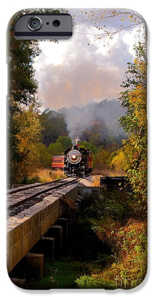 Caboose Photographs iPhone Cases - Train Through The Valley iPhone Case by Robert Frederick