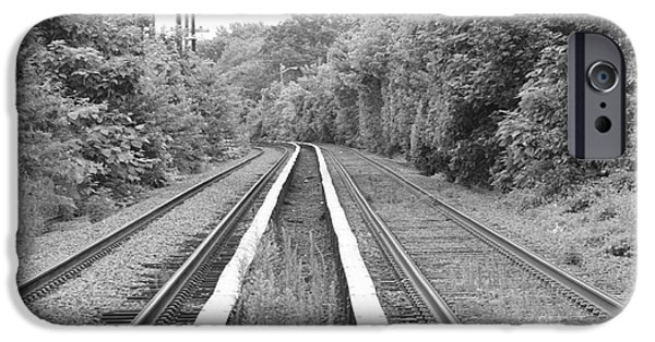Electrical iPhone Cases - Train Tracks Running Through The Forest iPhone Case by John Telfer