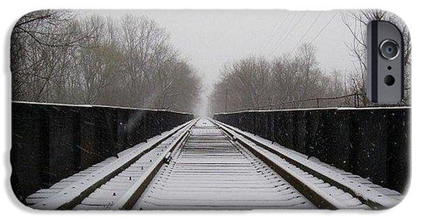 Chatham Digital Art iPhone Cases - Train Tracks iPhone Case by Lou Pramuk