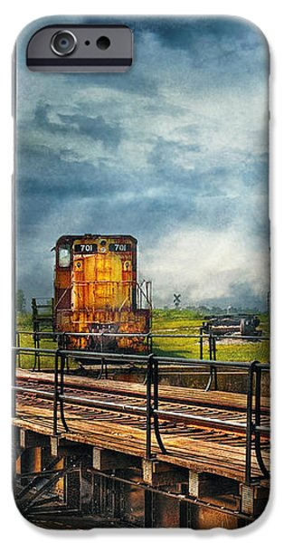 Train - Yard - On the turntable iPhone Case by Mike Savad