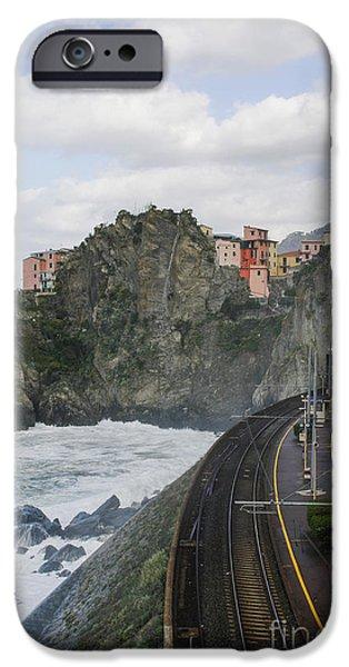 Sea Platform iPhone Cases - Trainstation in Manarola Italy iPhone Case by Patricia Hofmeester