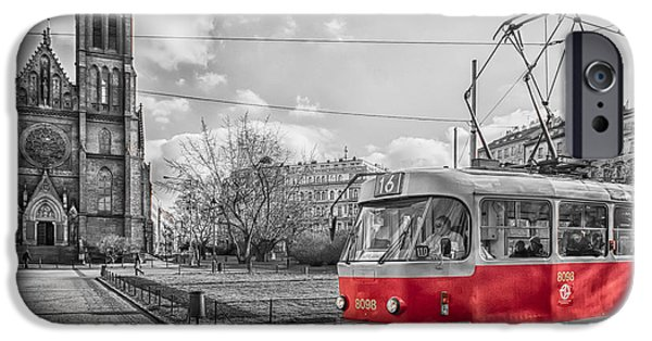 Old Cars iPhone Cases - Tram iPhone Case by Vessela Banzourkova