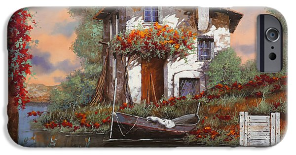 White House Paintings iPhone Cases - Tramonto Con Bougainvillea iPhone Case by Guido Borelli
