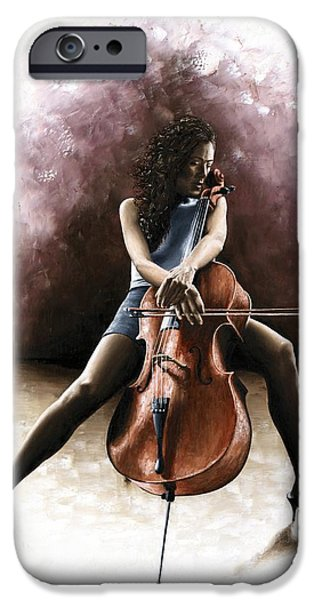 Drama iPhone Cases - Tranquil Cellist iPhone Case by Richard Young