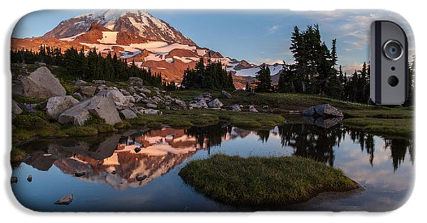 Mount Rainier iPhone Cases - Tranquil Mountain Pool iPhone Case by Mike Reid