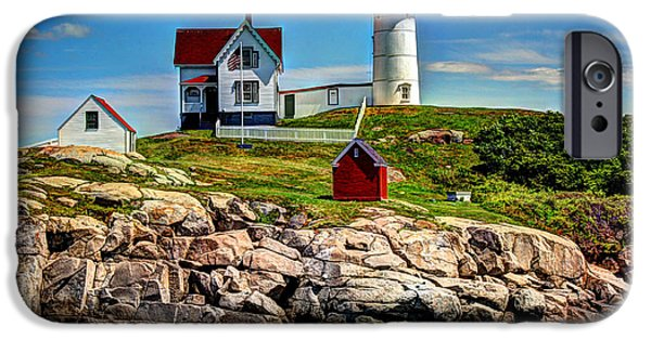 Nubble Lighthouse iPhone Cases - Tranquil Nubble Light iPhone Case by Laura Duhaime