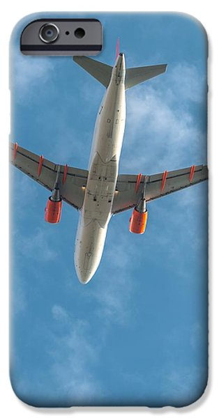 Jet Pyrography iPhone Cases - Tranquil sky with airplane traveling iPhone Case by Oliver Sved