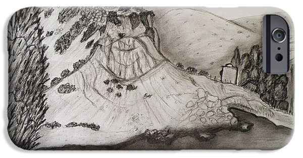 Beach Landscape Drawings iPhone Cases - Tranquility iPhone Case by Augusta Stylianou