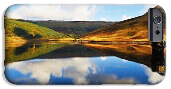 Mountain Digital Art iPhone Cases - Tranquility iPhone Case by Ayse Deniz