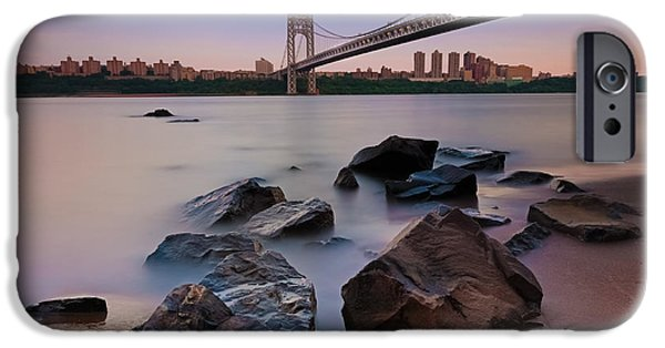 Manhatan iPhone Cases - Tranquility By The George Washington Bridge iPhone Case by Poliana DeVane