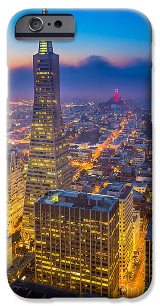 Bay Area iPhone Cases - TransAmerica Cityscape iPhone Case by Inge Johnsson