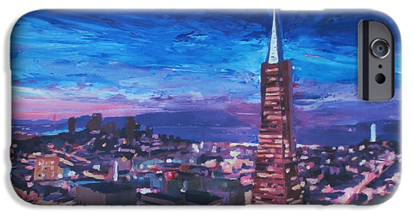 Recently Sold -  - Bay Bridge iPhone Cases - Transamerica Pyramid at San Francisco Night iPhone Case by M Bleichner