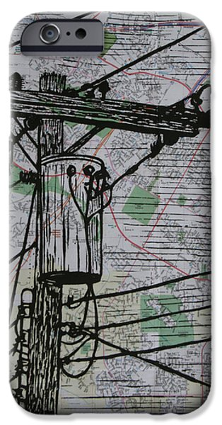 Lino Drawings iPhone Cases - Transformer on Map iPhone Case by William Cauthern