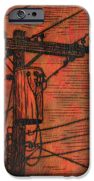 Lino Drawings iPhone Cases - Transformer iPhone Case by William Cauthern