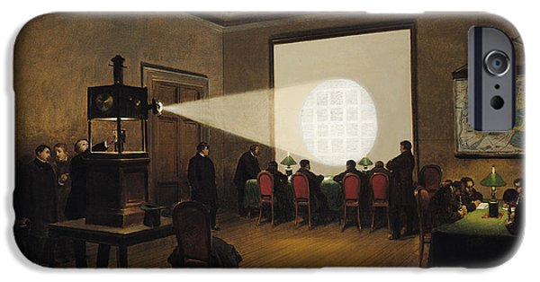 Technology iPhone Cases - Transmission Of Telegraphs At The Central Telegraph Office, November 1870 Oil On Canvas iPhone Case by Jules Didier