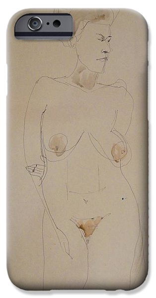 Sepia Ink Drawings iPhone Cases - Transparent Nude iPhone Case by Esther Newman-Cohen