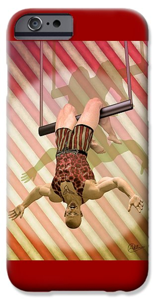 Muscular Digital iPhone Cases - Trapeze artist  iPhone Case by Quim Abella