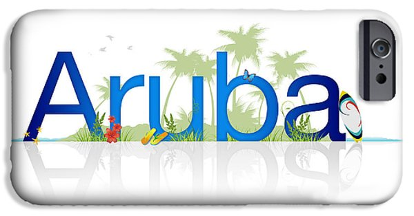 Board Drawings iPhone Cases - Travel Aruba iPhone Case by Aged Pixel