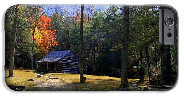 Mountain Cabin iPhone Cases - Traveling Back In Time iPhone Case by Karen Wiles