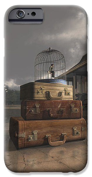 Bird Cages iPhone Cases - Traveling iPhone Case by Cynthia Decker