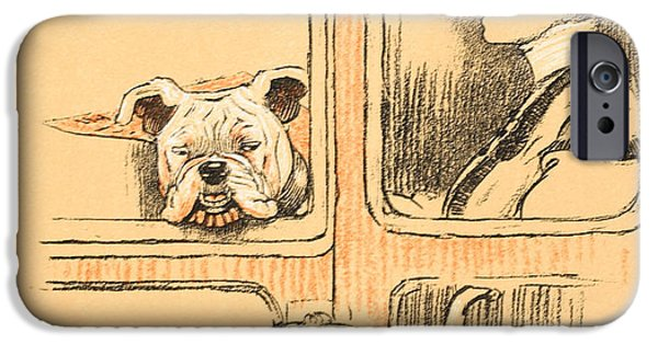 Man's Best Friend iPhone Cases - Traveling in First Class iPhone Case by Cecil Charles Windsor Aldin