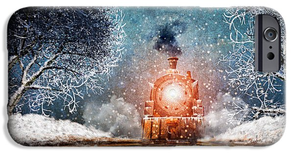 Collectible Mixed Media iPhone Cases - Traveling On Winters Night iPhone Case by Bob Orsillo