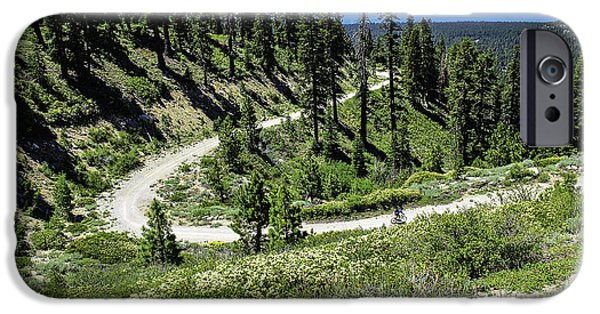 Mount Rose iPhone Cases - Traveling the Mt. Rose Highway Scenic Overlook hiking trail iPhone Case by LeeAnn McLaneGoetz McLaneGoetzStudioLLCcom