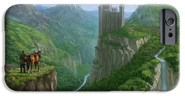 Epic Digital Art iPhone Cases - Traveller in landscape with distant Castle iPhone Case by Martin Davey