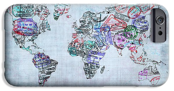 Different Worlds iPhone Cases - Traveller world map iPhone Case by Delphimages Photo Creations