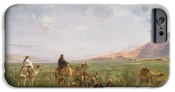 Camel Photographs iPhone Cases - Travellers Resting At An Oasis iPhone Case by Eugene Fromentin